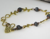Midnight Romance Bracelet or Anklet - Labradorite, Brass, Antique Copper