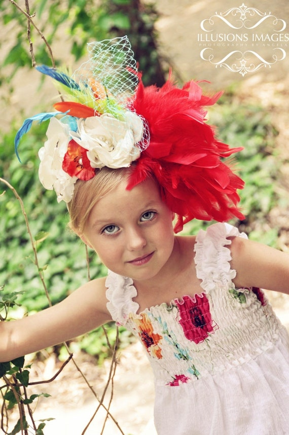 SUNNY SIDE SMILE large multi floral hairpiece  for photoshoots and special occasions weddings and portraits in red turquoise orange fall