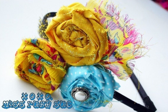 LIZZY LOVES YELLOW- hair fascinator in yellow, polka dot blue, little girls or women, fun to wear, lightweight