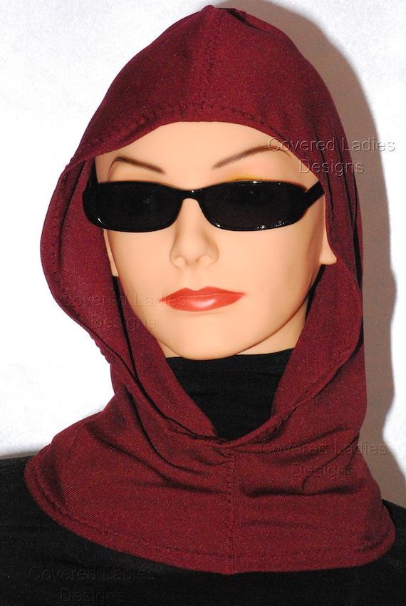 Hoodie - Hood Wrap Headcovering Cranberry Hood Hijab