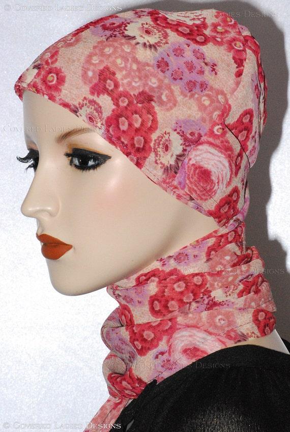 Turban Head Wrap - Peach Red Rayon Turband
