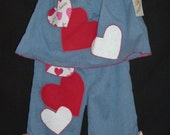 Valentines Pillowcase Top n Pants - Denim and Hearts Ruffled Play Set  1-2T - ONE set left - seasonal clearance sale - 25% off