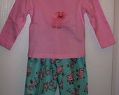 Flannel Pink Pig Pants and Tee Lounger Set    12 mth - overstock clearance sale - 25% off