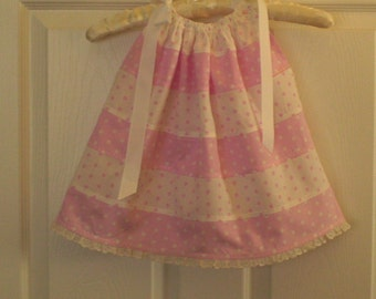 Pink n White, White n Pink Melody Dots Pillowcase Dress-12 mth - clearance 10.00