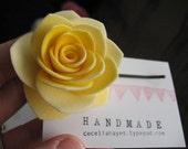 Handmade rose bobby pin in yellow