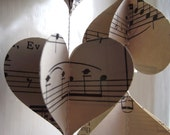 Vintage Music, 3D Paper Mobile, Hearts Mobile, Wedding Decor, Music Mobile, Paper Decoration, Wedding Decoration, Music Garland, 3D Hearts,