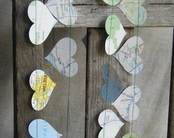 9 - 15 Feet - Are We There Yet - Recycled Vintage Map Garland - Choose Your Length