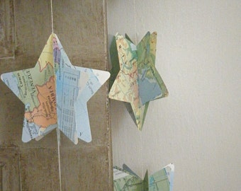 Map Paper Mobile, Map Stars, Paper Star Mobile, Paper Decoration, Nursery Decor, Star Mobile, Maps, Vintage Map, Vintage Book, Travel Gift