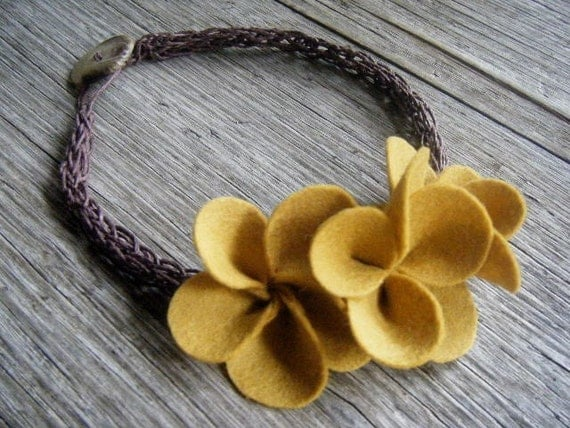 Ophelia Merino Wool Felt and Hemp Flower Necklace