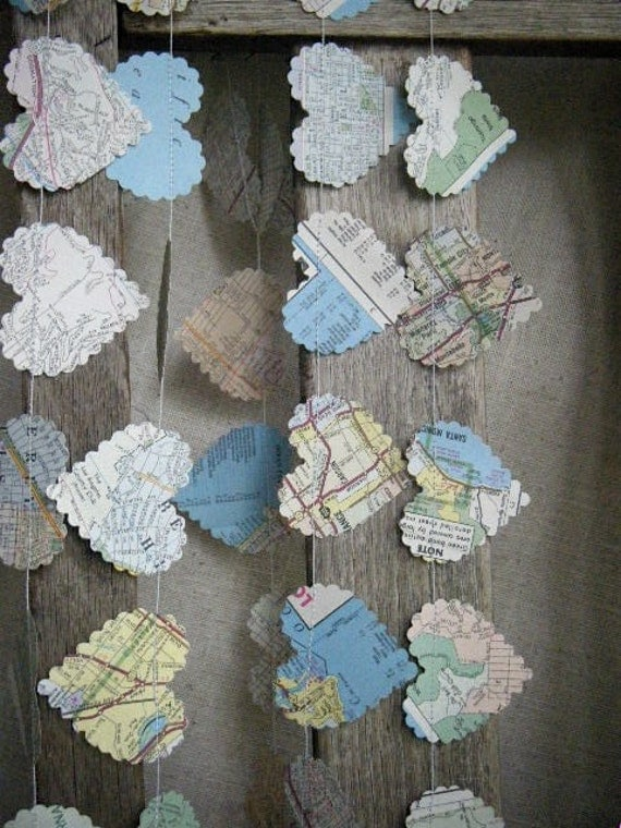 I love la recycled vintage map garland limited edition for Arland decoration