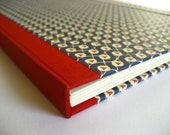 Large handmade accordion file folder (A4) Classic blue and red
