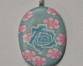 Turquoise Rose Pink Flowers Blue Polymer Clay Cabochon Pendant