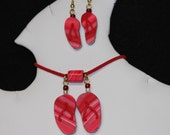 Red Flip Flop Necklace and Earring Set Polymer Clay Jewelry