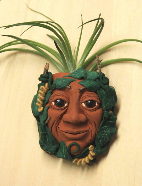 Green Man Mini Polymer Clay Sculpture with Tillandsia