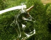 Vintage Unicorn Pendant - Glass and Gold
