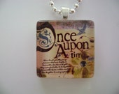 Once Upon A Time GLASS Pendant with Silver Ball Chain