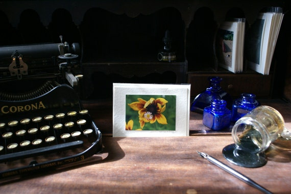 Handmade Photographic Note Card - Sunflower Flower, Daisy Flower