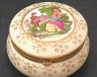 Vintage Porcelain Powder Jar - Trinket Box - Fragonard Romantic Couple Flirt Scene