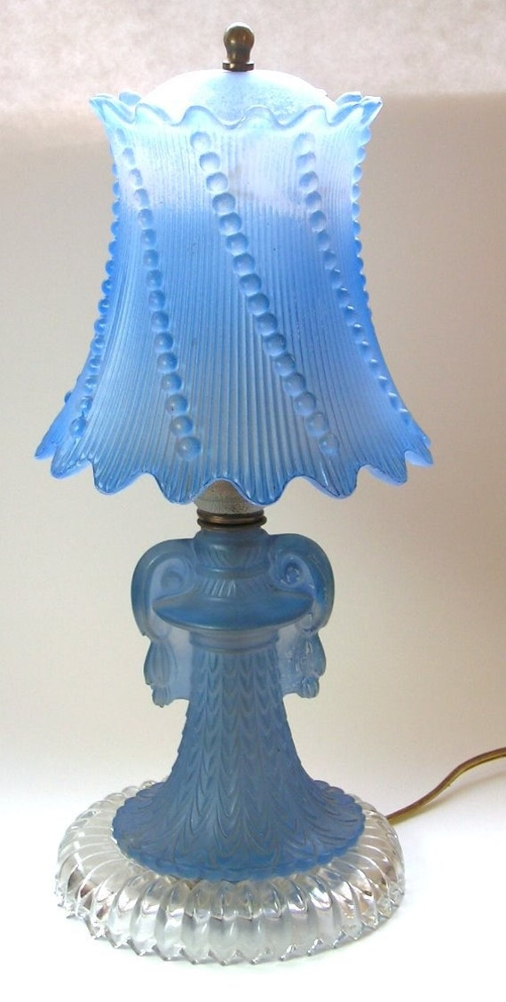 Vintage Boudoir Lamp Blue Frosted Glass Depression Bedside