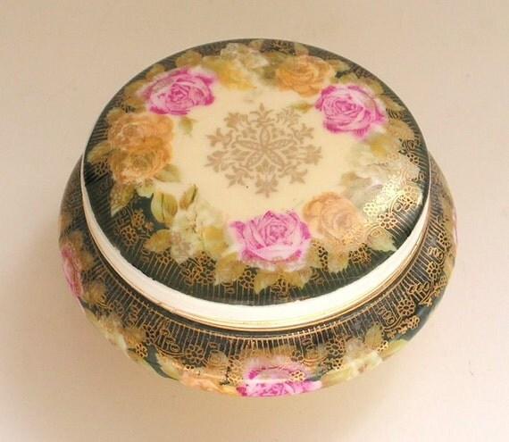 Antique Rosenthal Royal Crown Bavaria Porcelain Powder Jar Trinket Pot