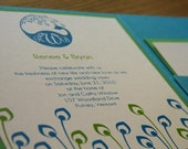 Wedding Invitation Peacock Pocketfold  -Deposit to get started