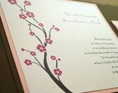 Cherry Blossom Pocketfold Wedding Invitation - Deposit to get started