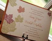 Maple Leaves Printable Wedding Invitation - You Print - Digital File - DIY - Customized Print Ready