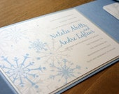 Snowflake Pocketfold Wedding Invitation - Deposit to get started