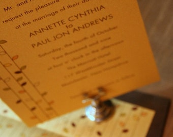 Wedding Invitation Modern  Autumn Leaves - Deposit to get started