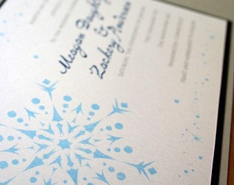 Snowflake Wedding Invitation  Pocketfold- Deposit to get started