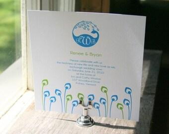 Wedding Invitation Peacock Monogram  - Deposit to get started