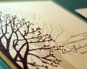 Wedding Invitation Blooming Tree Pocketfold  - Deposit to get started