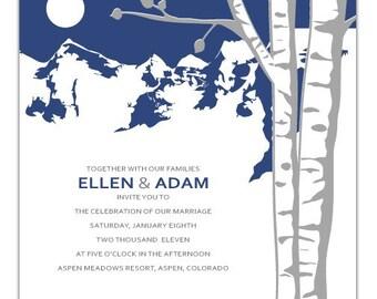 Mountain Aspen Wedding Invitation - Deposit to get started