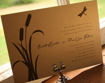 Wedding Invitation Cattail and dragonfly  - Deposit to get started