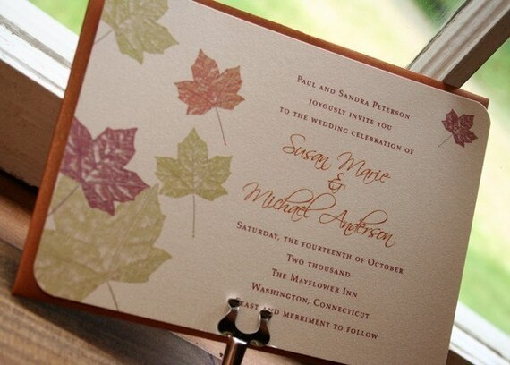 Wedding Invitation Maple Autumn  Fall Leaves  - Deposit to get started