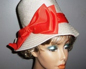 Vintage White with Orange  Hat  Charo Original Chic and Fun