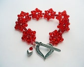 Red Crystal Beadwork Cuff Bracelet  Japanese Beadweave Flower Sterling Silver Heart - TinksTreasure