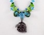 ON SALE - Eagle Pendant Crystal Flowers Leaves Aqua Green Garden Necklace