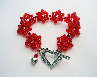 Red Crystal Beadwork Cuff Bracelet  Japanese Beadweave Flower Sterling Silver Heart