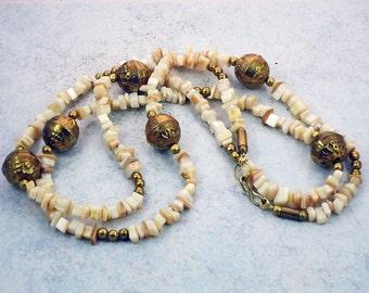 Vintage Brass Beads Shells Necklace