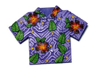Tropical Shirt Polymer Clay Pin Handmade Brooch Jewelry Hawaii Vacation Summer Beach Canework Flower Leaf Purple Clothing