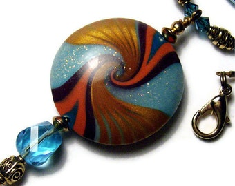 Pendant Necklace Handmade Polymer Clay Lentil Shape Pendant Art Jewelry Glass Bugle Beads Gold Plated Microglitter