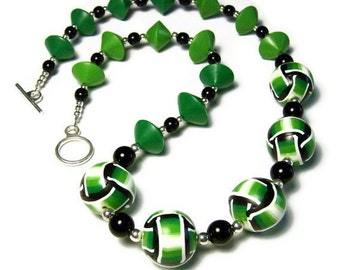 Basketweave Canework Handmade Beads Contemporary Statement Necklace Polymer Clay Art Jewelry Green Bicones Green White Black Seed Beads 21""