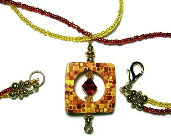 45% OFF Pendant Necklace Polymer Clay Handmade Canework Art Jewelry Two Strands Seed Beads Swarovski Crystals Gold Plated