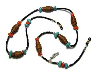 Eyeglass Leash Accessories Handmade Polymer Clay Imitative Leather Turquoise Southwestern Pewter Feather Charm Seed Beads