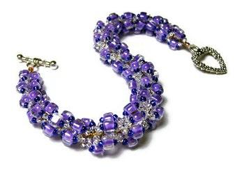 "Beadwork Bracelet Beadweaving Handmade Seed Beads Triangle Beads Spiral Pattern Jewelry Purple 8 1/8"" 21 CM"
