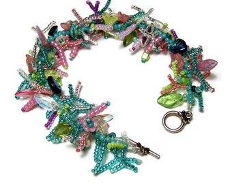 "50% OFF Beadwork Bracelet Beadweaving Handmade Seed Beads Glass Flowers Leaf Beads Tropical Fringe Art Jewelry 8 1/4"""