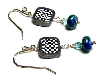 Azurite Drop Earrings Polymer Clay Canework Handmade Art Jewelry Handmade Black White Check Beads Sterling Silver