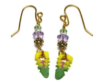 Pierced Earrings Handmade Polymer Clay Beads Canework Leaf Jewelry Swarovski Crystal Dangles Goldplated