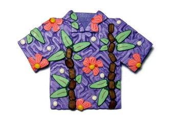 Tropical Shirt Polymer Clay Pin Handmade Brooch Hawaii Vacation Summer Beach Canework Hibiscus Bamboo Purple Clothing Jewelry